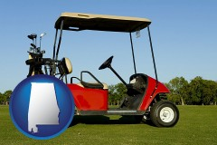 alabama a red golf cart and golf clubs on a golf course