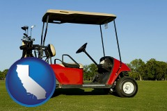 california a red golf cart and golf clubs on a golf course