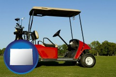colorado a red golf cart and golf clubs on a golf course