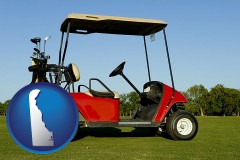 delaware a red golf cart and golf clubs on a golf course