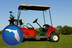 florida a red golf cart and golf clubs on a golf course