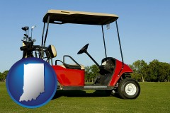 indiana a red golf cart and golf clubs on a golf course