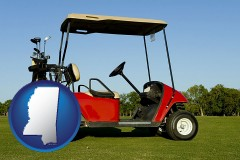 mississippi a red golf cart and golf clubs on a golf course
