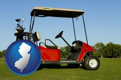 new-jersey a red golf cart and golf clubs on a golf course