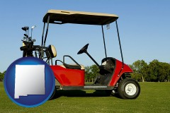 new-mexico a red golf cart and golf clubs on a golf course