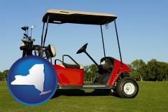 new-york a red golf cart and golf clubs on a golf course