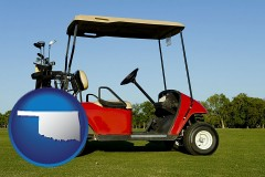 oklahoma a red golf cart and golf clubs on a golf course
