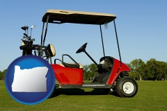 oregon a red golf cart and golf clubs on a golf course