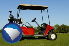 south-carolina a red golf cart and golf clubs on a golf course