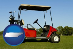 tennessee a red golf cart and golf clubs on a golf course