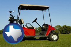 texas a red golf cart and golf clubs on a golf course
