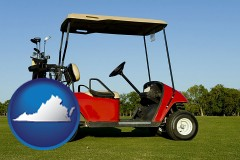virginia a red golf cart and golf clubs on a golf course
