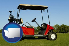washington a red golf cart and golf clubs on a golf course