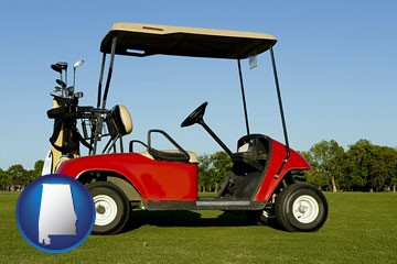 a red golf cart and golf clubs on a golf course - with Alabama icon