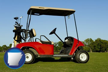 a red golf cart and golf clubs on a golf course - with Arkansas icon