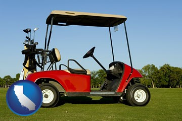 a red golf cart and golf clubs on a golf course - with California icon