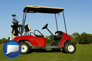 a red golf cart and golf clubs on a golf course - with Connecticut icon