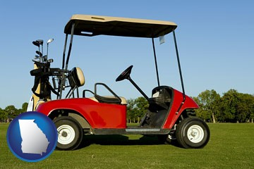 a red golf cart and golf clubs on a golf course - with Georgia icon