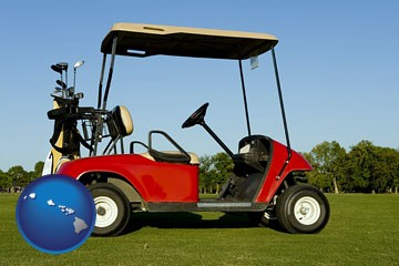 a red golf cart and golf clubs on a golf course - with Hawaii icon