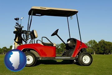 a red golf cart and golf clubs on a golf course - with Illinois icon