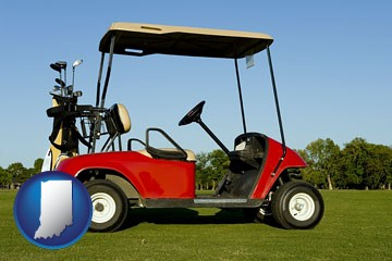 a red golf cart and golf clubs on a golf course - with Indiana icon