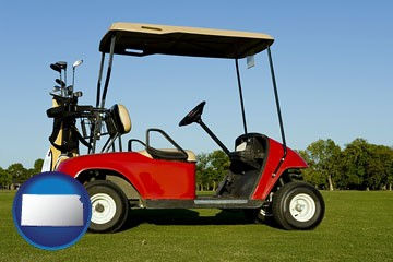 a red golf cart and golf clubs on a golf course - with Kansas icon