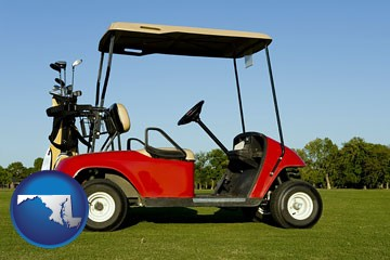 a red golf cart and golf clubs on a golf course - with Maryland icon