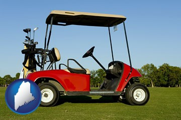 a red golf cart and golf clubs on a golf course - with Maine icon