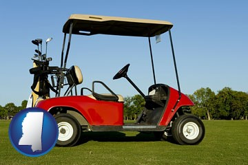 a red golf cart and golf clubs on a golf course - with Mississippi icon