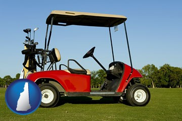 a red golf cart and golf clubs on a golf course - with New Hampshire icon