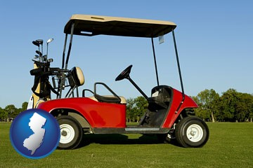 a red golf cart and golf clubs on a golf course - with New Jersey icon