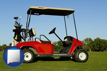 a red golf cart and golf clubs on a golf course - with New Mexico icon