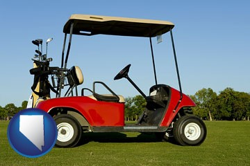 a red golf cart and golf clubs on a golf course - with Nevada icon