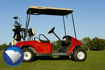 a red golf cart and golf clubs on a golf course - with South Carolina icon