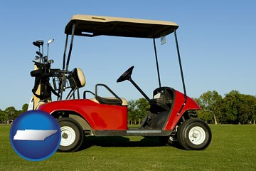 a red golf cart and golf clubs on a golf course - with Tennessee icon