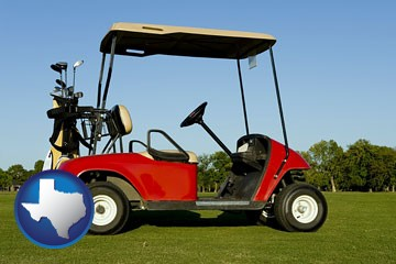 a red golf cart and golf clubs on a golf course - with Texas icon