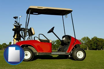 a red golf cart and golf clubs on a golf course - with Utah icon