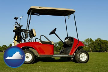 a red golf cart and golf clubs on a golf course - with Virginia icon