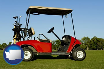 a red golf cart and golf clubs on a golf course - with Washington icon