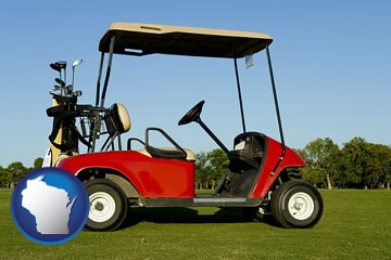 a red golf cart and golf clubs on a golf course - with Wisconsin icon