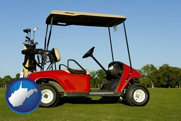 a red golf cart and golf clubs on a golf course - with West Virginia icon
